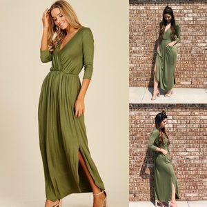 3/4 sleeve maxi dress with slit